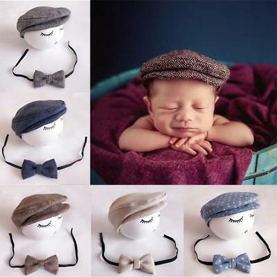 Newborn Peaked Beanie Cap Hat + Bow Tie Photo Photography Prop Outfit Set OZ
