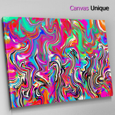 AB1636 pink blue psychedelic paint Abstract Wall Art Picture Large Canvas Print