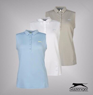 Ladies Slazenger Summer Plain Sleeveless Sweat Wicking Golf Polo Shirt Top