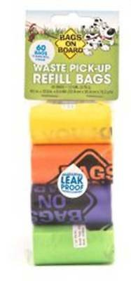 Bags on Board  60x Refill Dog Poo Bags Leak Proof Rainbow Colours Waste Pick Up