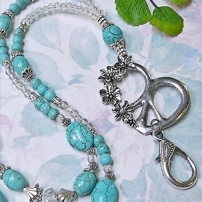 Beaded Necklace Lanyard keys work security id badge Peace Sign with Turquoise