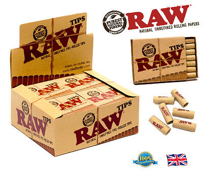 RAW PRE ROLLED TIPS Smoking Pre- Rolled Rolling Tips Natural Unrefined Paper Tip