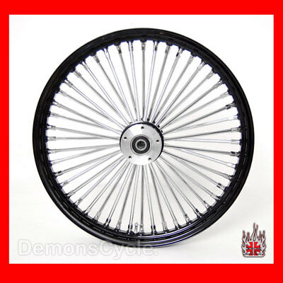 "23 x3.5"" BLACK FRONT WIDE GLIDE WHEEL MAMMOTH 48 FAT SPOKES DUAL DISC FIT HARLEY"