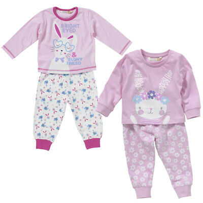 Lullaby Toddler Girls Bunny Rabbit Pyjamas Cotton Cute Hoppity Hop Pink Lilac