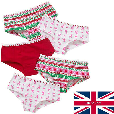 Girls Just Essentials Multipack 5 Christmas Briefs Pants Knickers Hipster Shorts