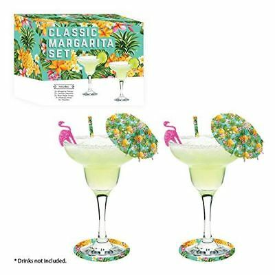 Classic Margarita Cocktail Glass Gift Set Drinking Glasses Umbrellas Accessories