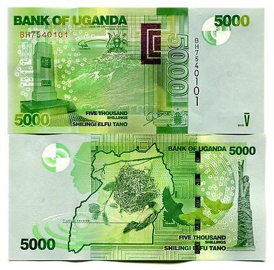 UGANDA 5000 SHILLINGS 2015 P-51d UNCIRCULATED