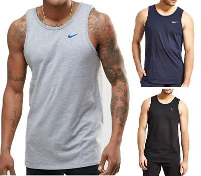 Nike men's black blue grey swoosh logo cotton muscle fit sleeveless sports vest