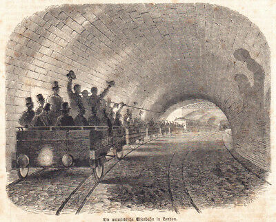 #10887 Eisenbahn London U-Bahn Tunnel UK Original Stich Antike Grafik 1863