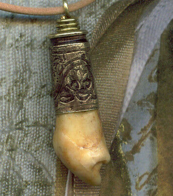 Cave Bear Tooth Pendant on Leather Cord w/ 9mmBullet Shell Cap -  Ursus Spelaeus