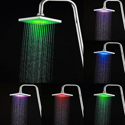 7 Colors LED Auto Changing Shower Square Head Light 26# Home New Rain Water #zxs