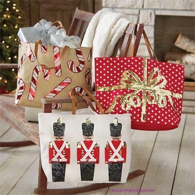 Mud Pie CHRISTMAS Holiday Dazzle Sequin Jute Tote Bag Candy, Present, Soldier