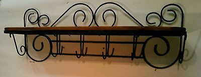 antique vintage primitive wire wooden wall hanging Shelf collectibles metal