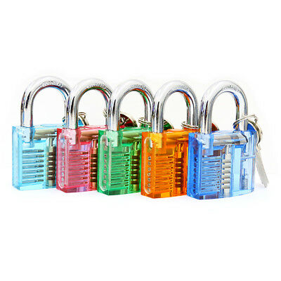 12x Set Practice Lock Set Crystal Pin Tumbler keyed Padlock Tools for Locksmith