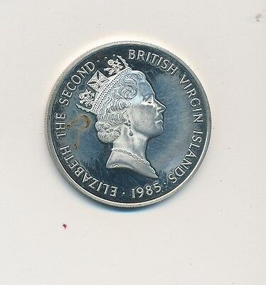 1985 British Virgin Islands .925 Silver Twenty Dollars-Circulated-Ships Free!