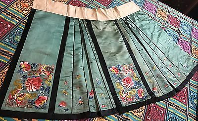 Antique Chinese Hand Embroidered Green Silk Skirt Qing Dynasty