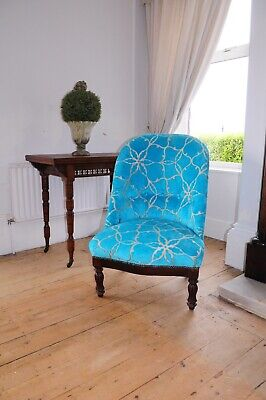 Antique Victorian Low Chair recovered in Turquoise designer fabric