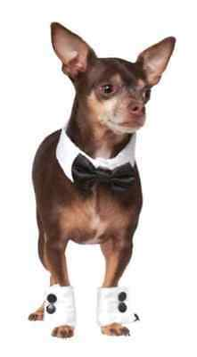 Tuxedo Set Bow Tie Cuffs Formal Tux Halloween Pet Dog Cat Costume Accessory