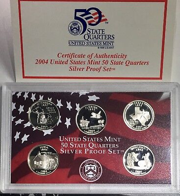 2004-S US Mint SILVER State Quarters Proof Set w/ US Mint Packaging and COA