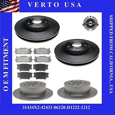 Front and Rear Brake Disc Rotors & Pads 2012 2013 2014 2015 2016/17 TOYOTA CAMRY