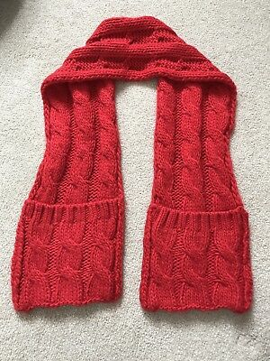 Red knitted mothercare scarf one size
