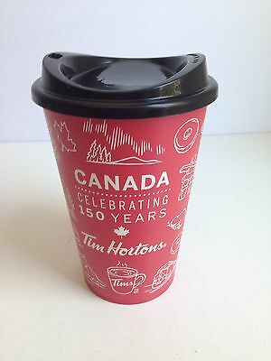 Tim Hortons 2017 Canada's 150 Limited Edition Plastic Reusable Cup w/Lid NEW
