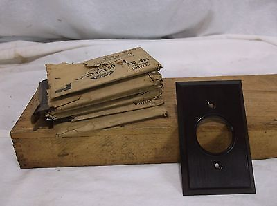 Vintage NOS BAKELITE Single Flush ROUND Receptacle Switch Plate Cover Made in US