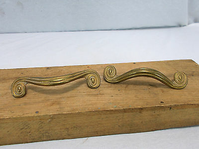2 Vtg Antique Brass Decorative Drawer Pull Knob Handle Dresser Cabinet Shabby