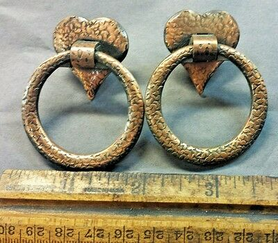 2 nos bail HEART RING Drawer Cabinet Pulls Handle Hammered vtg wrought iron set