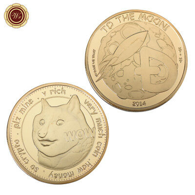 WR Very Much Wow Dogecoin 2014 1 DOGE To The Moon Commemorative Coin Gifts Teens