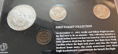 FIRST FLIGHT COLLECTION COIN UNCIRCULATED SET WITH 1oz .999 Silver Dollar