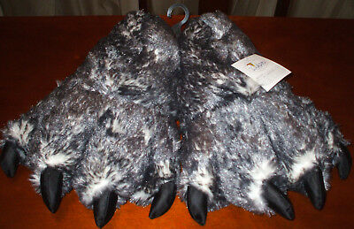 WISHPETS Fuzzy Gray/White Wolf Paw Plush Slippers Medium Kids-Adult Sizing