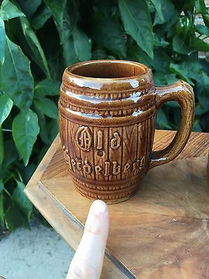 ANTIQUE OLD HEIDELBERG BARREL MUG STEIN Brown Pottery 1-4 available GERMAN BEER