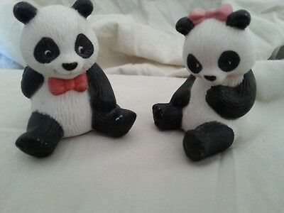 Set of 2 Ceramic Panda Bears by AVON Collectibles-1990-3 inches tall