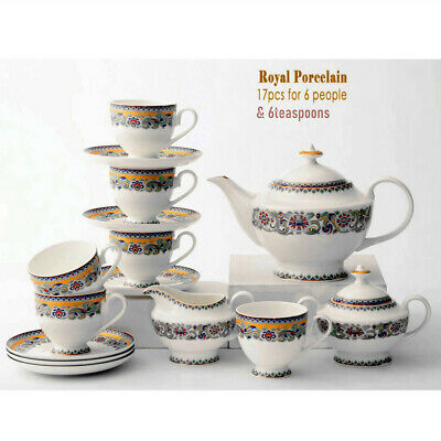 Fine Bone China Pottery Porcelain Elegant Ceramic 21pc Coffee Tea Pot Cup Set #B