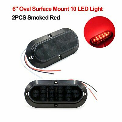 """2X Surface Mount Oval Smoked Red 6"""" 10LED 12V Truck Trailer Brake Tail Light TMH"""