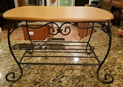 Longaberger Wrought Iron Side Table Stand with Wromg Wood Lid