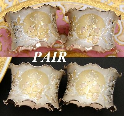 """Rare Pair of Antique to Vintage French Vermeil Silver Napkin Rings """"His"""" & """"Her"""""""