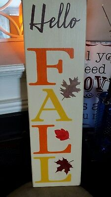 Fall Wood Sign Hello Fall Large Rustic Vertical Primitive Porch Sign Fall Decor