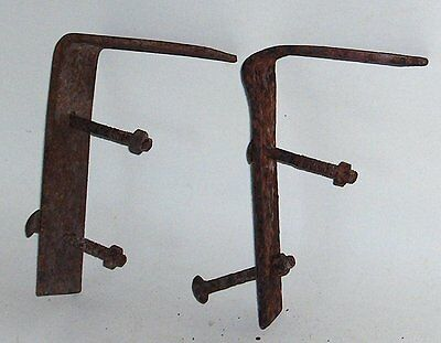 "2 - CAST IRON SHELF BRACKETS - 6"" x 4""....or antique farm machinery parts?"