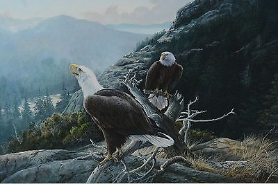 Lissa Calvert Bald Eagle Mountain Landscape Painting Canadian Listed Bird Artist