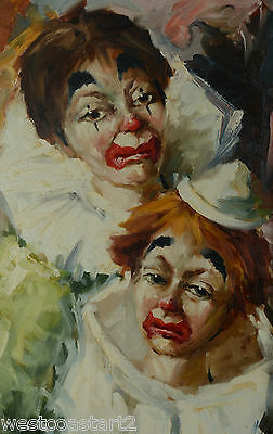 B HELO Original Oil Painting Two Clowns French