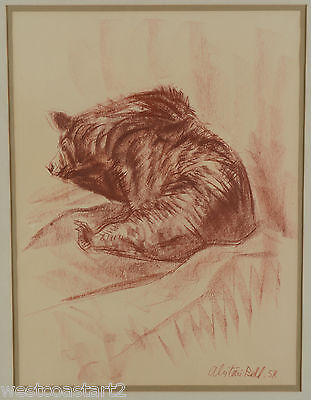Alistair Bell Sanguine Painting of Bear 1958 Canadian Listed Artist
