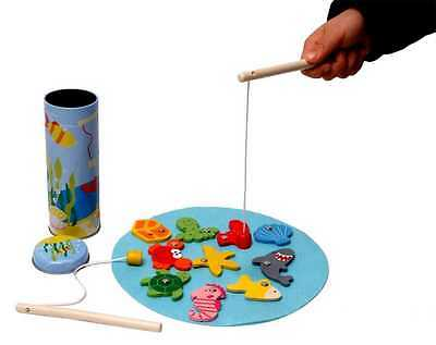 13 Pcs Wooden MAGNETIC FISHING GAME Set in a TIN Pretend Play Travel Toy KK