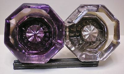 Authentic Antique Solarized Glass Amethyst & Brass Doorknobs #0