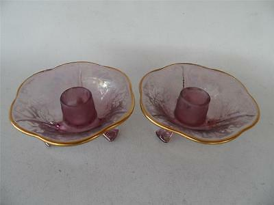Vintage Fostoria Oak Leaf Brocade Amethyst Irredescent Glass Candlesticks