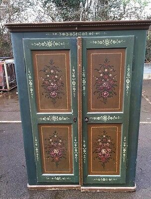 Antique Alpine Painted Cupboard Armoire Wardrobe Floral Delight Cafe Florist