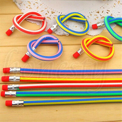 3~50xFunny Colors  Bendy Flexible Soft Pencils With Eraser For Kids Study Gift