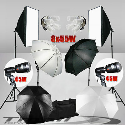 PRO.Studio Strobe Flash Lighting Photo 4 HEAD Softbox Light Stand Umbrella Kit
