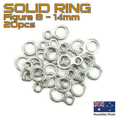 20x Solid Ring Figure 8 - 14mm - 304 Stainless Steel - Fishing Rigs, Jig Assist